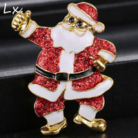 african christmas decorations - Santa Claus shape brooch alloy material sequins electroplating pins Christmas decoration clothing accessories new Glittering decoration
