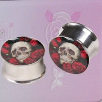 Wholesale 1 pair plugs stainless steel Skull Heads And Flower flare ear plug gauges tunnel body piercing jewelry
