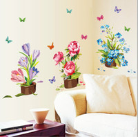 Murals PVC Plant Large Size 50*70cm PVC wall stickers Flower pot Waterproof stickers Sitting room removable Home Garden Decoration