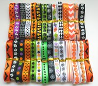Wholesale NEW random set quot mm mixed styles Halloween pattern printed satin ribbon STWS09