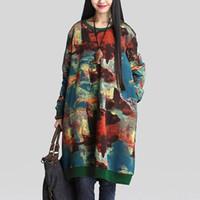 Wholesale 2016 Autumn Winter Casual Vintage Dresses Women Thick Retro Loose Print O Neck Long Sleeve Leisure Floral Dress Vestidos Hot