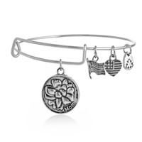 antique wire - Multi style antique silver plated mom friend tree alex and ani bracelets bangle for women expandable wire