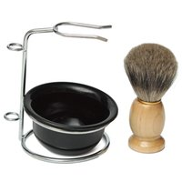 Wholesale Light Weight Professional Best Badger Hair Shaving Brush Black Bowl Stainless Steel Stand New Beautiful Color