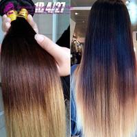 8A 3 Tone Ombre rectas de color 1b 4 27 Extensiones de cabello Negro de Brown a Rubia brasileña del cabello humano peruano del pelo humano teje
