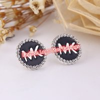 Wholesale Hot Sale Black Color Logo Stud Earrings Rhinestone Enamel Dress Punk Earrings For Lady mm FE013