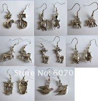 Wholesale Earrings Dangle Earrings Tibetan silver bird elephant fox owl deer animal Charm Earrings earring gauges