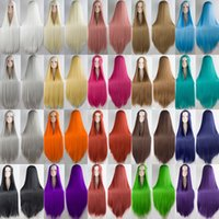 Wholesale HSIU cm middle Wig Long Straight Wig Cosplay Party Costume Anime Hair Color list