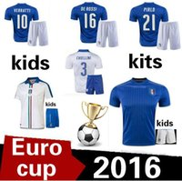 Cheap 2016 17 Italys soccer Jersey kids kits 2016 Italys PIRLO El Shaarawy Balotelli Verratti MARCHISIO national team football shirts