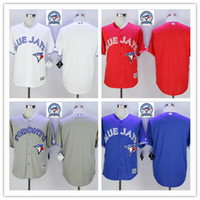 Wholesale Majestic - 2016 Majestic Official Cool Base MLB Stitched 40th Season Toronto Blue Jays Blank White BLue Red Gray Jerseys Mix Order