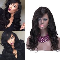 air wave hair - Body Wave Human Hair Full Lace Wig with Bangs Brazilian Lace Front Human Hair Wig Glueless Lace Wig with Air Bang