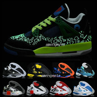 Wholesale Cheap Basketball Ball Shoes - 2016 retro 4 iv thunder OG white cement men basketball shoes sneakers authentic retros 4s basket ball shoes for mens cheap size us 8 - 13