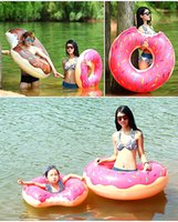 Wholesale Inflatable Donut Floating Pool Toy Summer Water Toy inch Gigantic Donut Swimming Float Inflatable Swimming Ring Adult Pool Floats