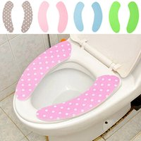 Wholesale one pair Magic Adhesive Bathroom Toilet Closestool Warmer Washable Soft Seat Cover Pads