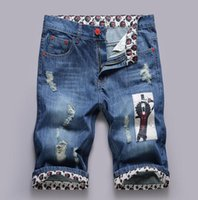 Cheap Wholesale-HOT 2016 Outdoor Summer Europe Hole Men's Printing Cowboy Hip Hop Patch Ripped Hole Jeans Short Trousers Knee Length Demin