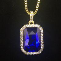 al por mayor caja de regalo de la joyería para el colgante-Nueva Bling para hombre Faux Laboratorio de rubíes del collar pendiente 24