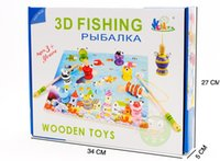 Wholesale Baby Toys Wooden Magnetic Fishing Game Toys Child D Fishing Platter Puzzle Magnetic Educational Wooden Toys Gift