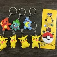 Poke Keychain Cartoon Pikachu Figurines d'action Porte-clés porte-clés porte-clés porte-clés porte-clés porte-clés cadeaux de Noël en gros