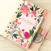 Wholesale Creative original flower dividers core for spiral notebook cute PP separate pages index paper stationery for girl s gift A5 A6