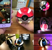 banks pendants - Poke go power bank LED light pokeball mAh powerbank poke ball charger with pendant portable charge figure toys for iphone note new
