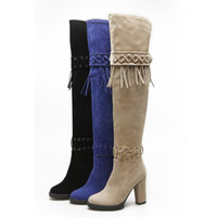 Fashion High Heel Knight Boots Short Plush Chunky Heel Zipper Tassel Cuisse Haute sur le genou Bottes Western Women Shoes Taille 34-43