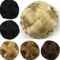 Wholesale Luxury Colors Women Chignon Braid Buns Hairpieces Synthetic Hair Brown Blond Black Hair Bun Styling