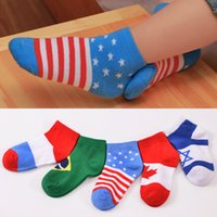ankle socks for toddlers - Cute Baby Flag Print Socks Cotton Sock For Infant Toddlers Children Soft Ankle Slipper Socks Gift