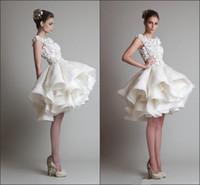 angle dress - Homecoming Dresses Cheap Coctail Dress Party Oscar Bateau Neck Sleeveless White Appliques Ball Gown Knee length Cute Angle Dresses