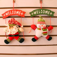 Wholesale new door garlands hanging fabric Santa Claus Snowman Welcome Christmas decorations Christmas wreath Christmas Party Supplies