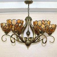 artistic stone - European Vintage Classical Glass Stone Pendant Light Artistic Tiffany Bars Cafe Lamp Living Room Pendant Light Lights