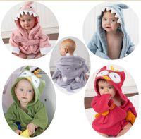 bathing robes - Winter Hooded Baby Bath Robes Cotton Baby Boy Bath Robe Cartoon Shark Owl Head Infant Bath Towels Kids Keep Warm Bathing Towels