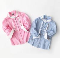 Wholesale 2016 New Autumn Girls Shirts Ruffles Collar Long Sleeve Stripe Tops Shirt Kids Child Princess Causal Blouse Children Cotton Shirts Clothes