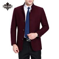 Wholesale Fall Winter Woolen Coat Men Autumn Wool amp Blends Single Breasted Men s Woolen Jackets Color Mens Casual Wool Coats Solid Outwear