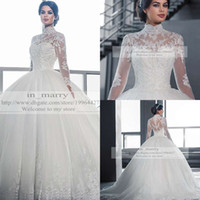 Cheap Victorian Arabic Long Sleeves Ball Gown Wedding Dresses Princess Style 2015 Plus Size Muslim Isalmic High Neck Empire Wedding Bridal Gowns