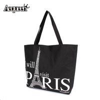 beach tote bag pattern - Women Canvas Handbag Large Space Zipper Shopping Travel Shoulder Bag Paris Eiffel Tower Pattern Girls Beach Bookbag Casual Tote