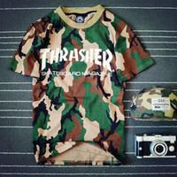 Cheap Wholesale-Brand Clothing Thrasher t-shirt Hip Hop T-shirt Men & Women t shirt camisa masculina Couple t-shirts man Camouflage tee shirts