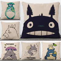 Wholesale Cute Sofa Set - Cute Anime Chinchilla Totoro pillow Cases Linen Cotton Cushion Cover Home Soft Textiles Beddng Sofa Sets Pillow Case Christmas Gift