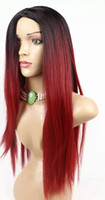 Wholesale Hot lolita wig Europe and America female black and red gradient straight hair synthetic fashion wig divide from the middle