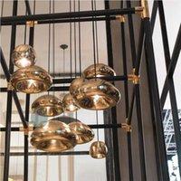 art hanging wire - Tom Dixon Void Copper Brass Bowl Mirror Glass Bar Art Modern G4 E27 LED Pendant Lamp Hanging Wire Lighting chandelier Lights