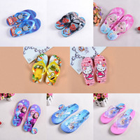 baby girl house slippers - 2016 Spiderman minions Frozen Slippers Flip Flops Kids boy girls sandals Shoes baby Beach and House Slippers style