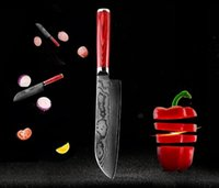 Wholesale 7 inch damascus steel sharp santoku knife layers with color wood handle in gift box