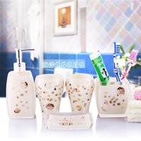 Wholesale Factory directly European style bathroom sets soap dishes toothbrush holder and lotion dispenser