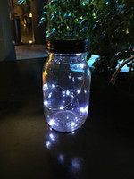 Wholesale 20 Wholesales New metal LED Mason Jar unique walkway Solar LED lid lights black lids white light