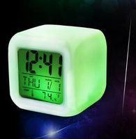 Wholesale LED Alarm Clock Backlight Modern Digital Alarm Clock Desk Gadget Digital Alarm Thermometer Night Glowing Cube Clock