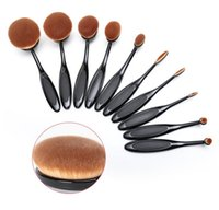 Wholesale 10PCS set ABODY Oval Soft Makeup Brush Set Toothbrush Shape Blush Foundation Powder Cream Cosmetic Brush Makeup Tool Women