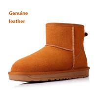 Tan bottines en cuir femmes France-hiver en cuir véritable neige cheville bottes de 2016 nouvelles femmes Ladies Womens filles Fur Lined d'hiver Bottes de neige vachette Chaussures