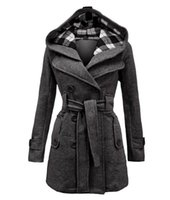 belted wool jacket - New Fashion Women Hooded Coats Belt Double Breasted Long Sleeve Plaid Slim Women Wool Jacket S M L XL XXL