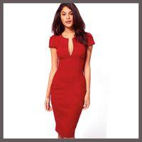 Wholesale Hot Classic Eight Colors Vintage Elegant V Neck Women Celebrity Pencil Dress Wear To Work Stretchy Knee Length Pocket Bodycon Dresses