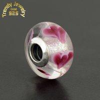 Wholesale 5pcs Fashion Valentine s Day Wild Heart Murano Glass Beads Sterling Silver Love Glass Bead Diy Brand Logo Bracelets Fine Jewelry