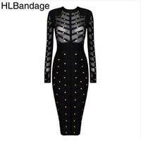 Cheap Long Sleeve Mesh Nail Beaded Best bandage dress