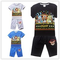 big pizza - 2016 Pizza Five nights at freddy short sleeve T shirt shorts Boys sets middle big kids clothing quality clothes years
